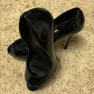 Black BCBG open toe 6 inch heel